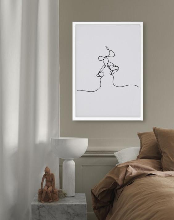 kiss line art print