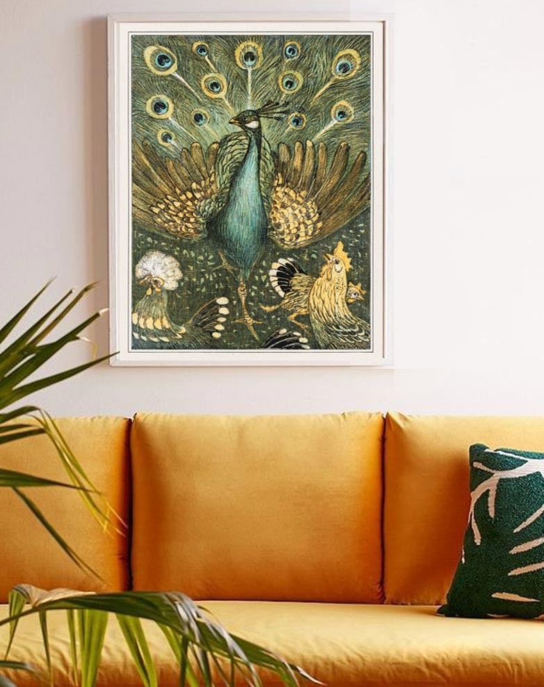 peacock decor print